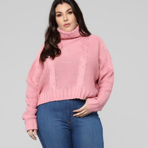 FASHION NOVA Cable Knit Pink Crop Sweater 1X 16